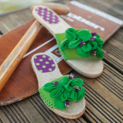 Espadrille-Sandalen mit Filzblüten Nähanleitung mit Schnittmuster bei Makerist