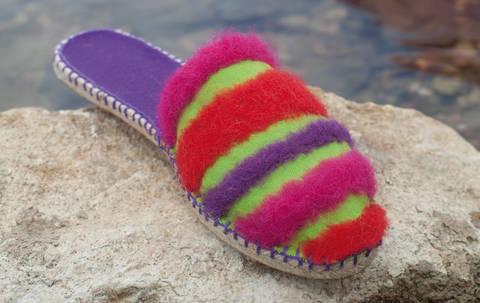 Espadrille-Sandalen mit gefilzten Streifen Nähanleitung mit Schnittmuster bei Makerist