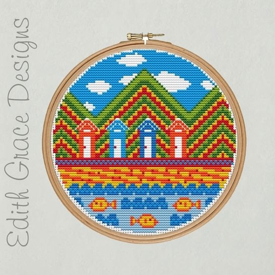 Beach Hut Embroidery Pattern at Makerist - Image 1