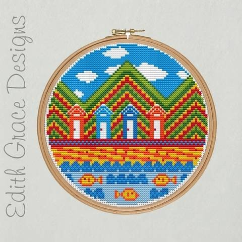 Beach Hut Embroidery Pattern