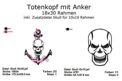 Stickdatei Skull mit Anker Totenkopf Rahmen 18x30