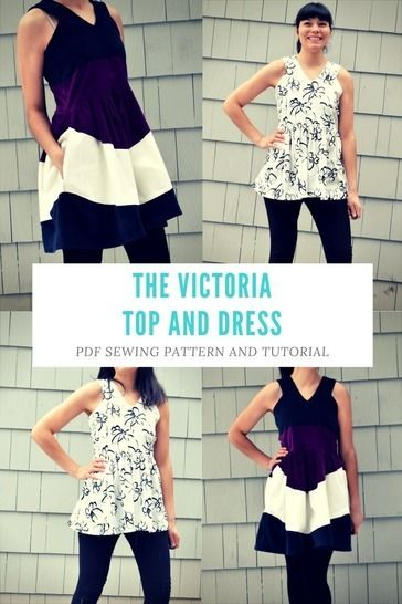the Victoria Top and Dress Pattern and Tutorial: PDF printable sewing pattern and tutorial including sizes 4 to 22  at Makerist - Image 1