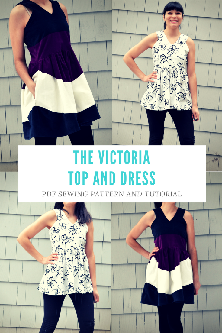 the Victoria Top and Dress Pattern and Tutorial: PDF printable sewing pattern and tutorial including sizes 4 to 22
