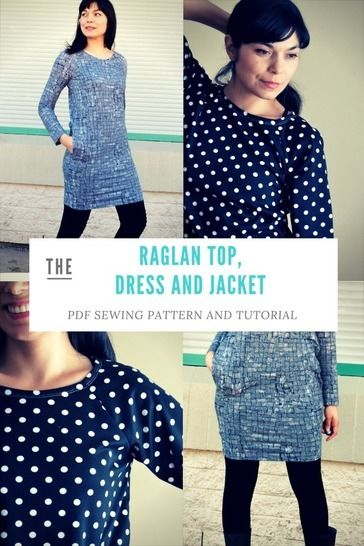Loose fit Raglan, Dress and Jacket: Printable PDF Sewing Pattern in sizes 4 to 22, including an illustrated sewing tutorial  at Makerist - Image 1