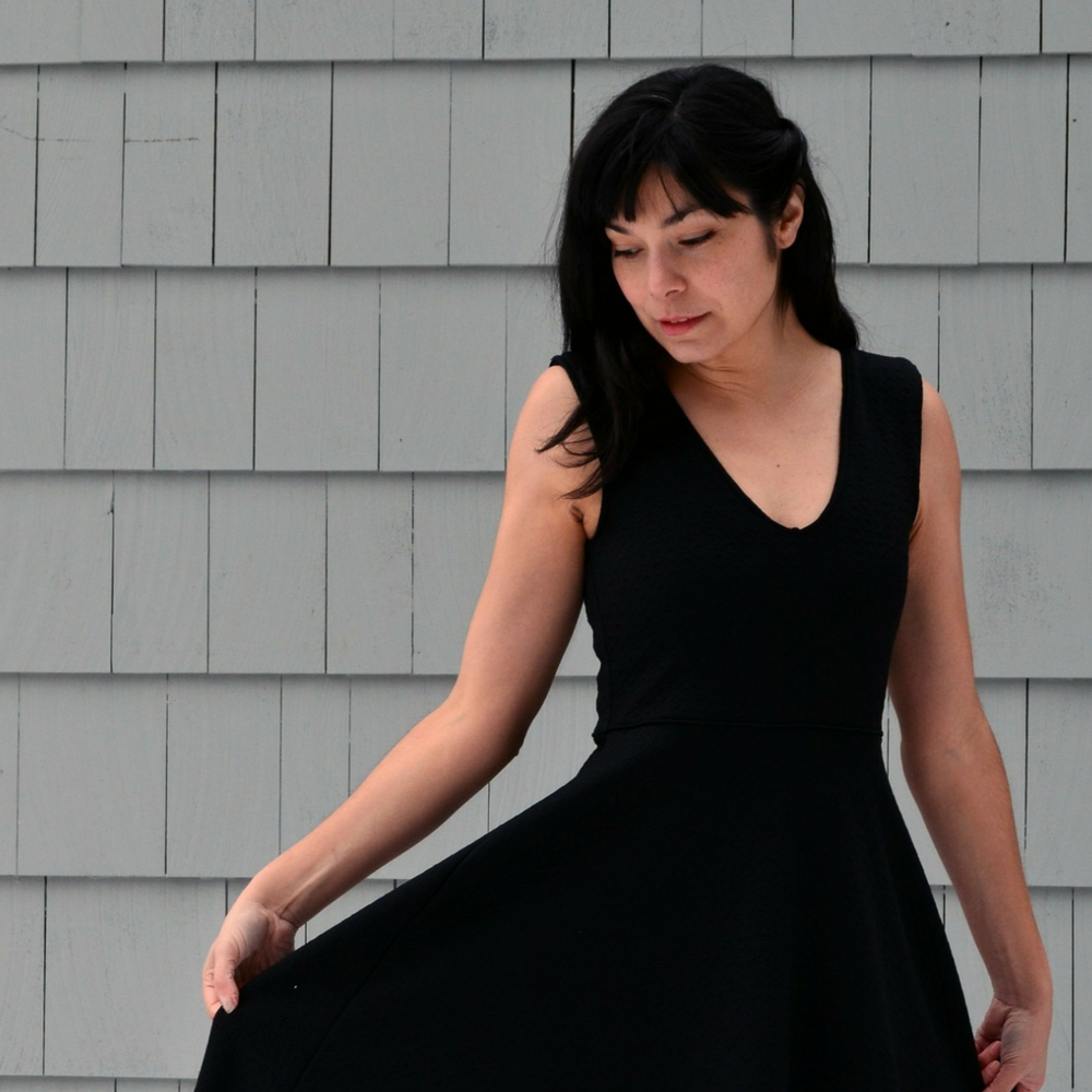 V-Neck Dress Pattern: PDF printable Sewing Pattern for Women