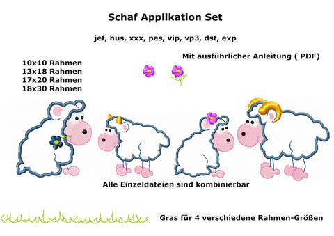 Stickdatei Schafe Applikation 18 teilig Rahmen 10x10 / 13x18 und 17x20