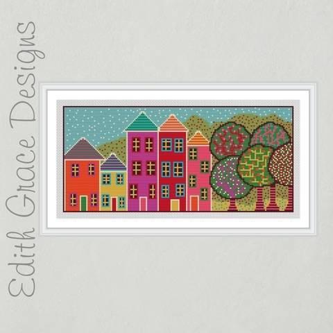 Folk Art House Embroidery Pattern