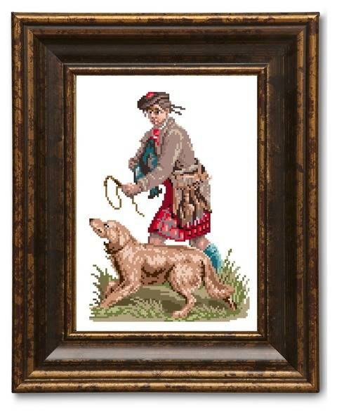 Highland hunter. Cross stitch pattern
