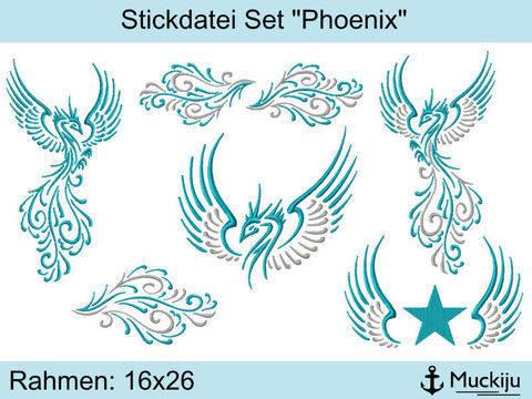 "Stickdatei Set 16x26 ""Phoenix"""