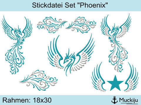 "Stickdatei Set 18x30 ""Phoenix"""