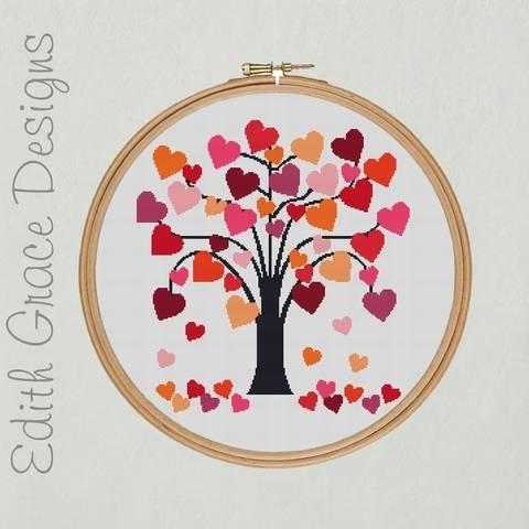 Love Heart Tree Embroidery Pattern