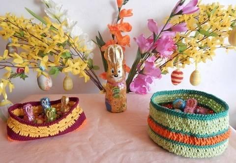 Häkelanleitung dekorative Osterkörbchen