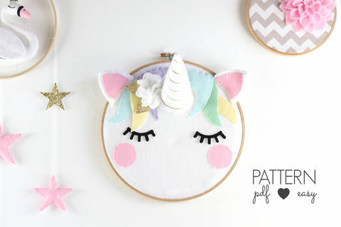 Unicorn Nursery Art Pattern - Scandinavian Nursery Decor - Boho Unicorn Sewing Pattern - Unicorn Decor