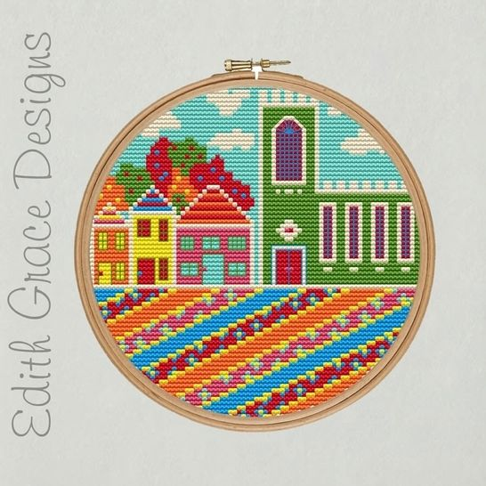 English Village Embroidery Pattern at Makerist - Image 1