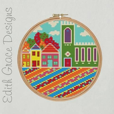 English Village Embroidery Pattern