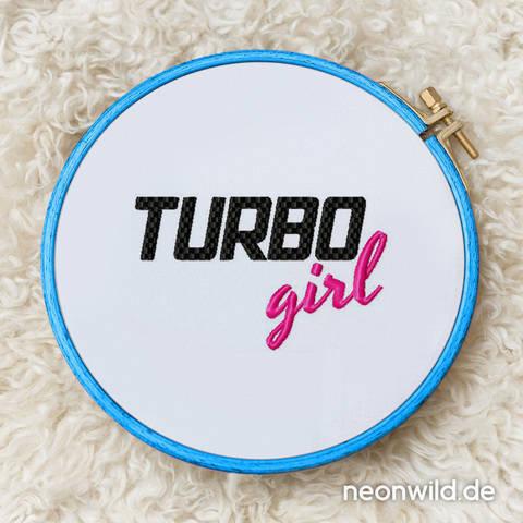 """Stickdatei """"TURBO girl""""  -  3 Größen"""
