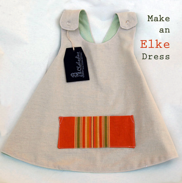 Little Girls Easy to Sew Digital Dress Pattern to print at home - Elke Apron Pinafore Dress