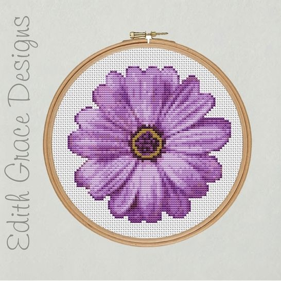 Purple Flower Embroidery Pattern at Makerist - Image 1