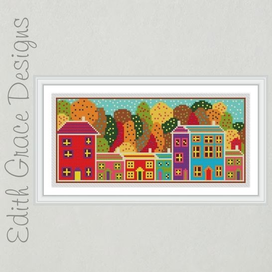 Folk Art Autumn Trees Embroidery Pattern at Makerist - Image 1