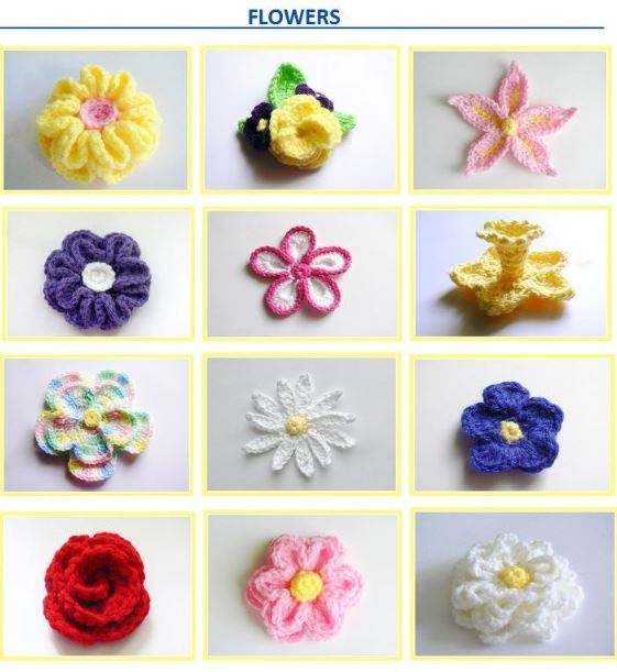 10 Flowers and 3 Head Bands Crochet Pattern - Baby to Women's XL # 132