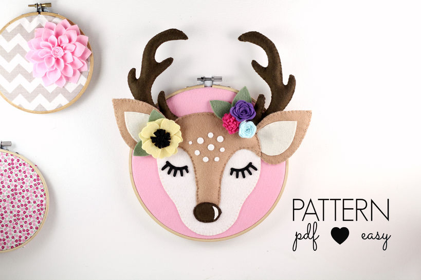 Deer Antler Nursery Art Pattern - Woodland Nursery - Deer Head Felt Sewing Pattern  at Makerist - Image 1