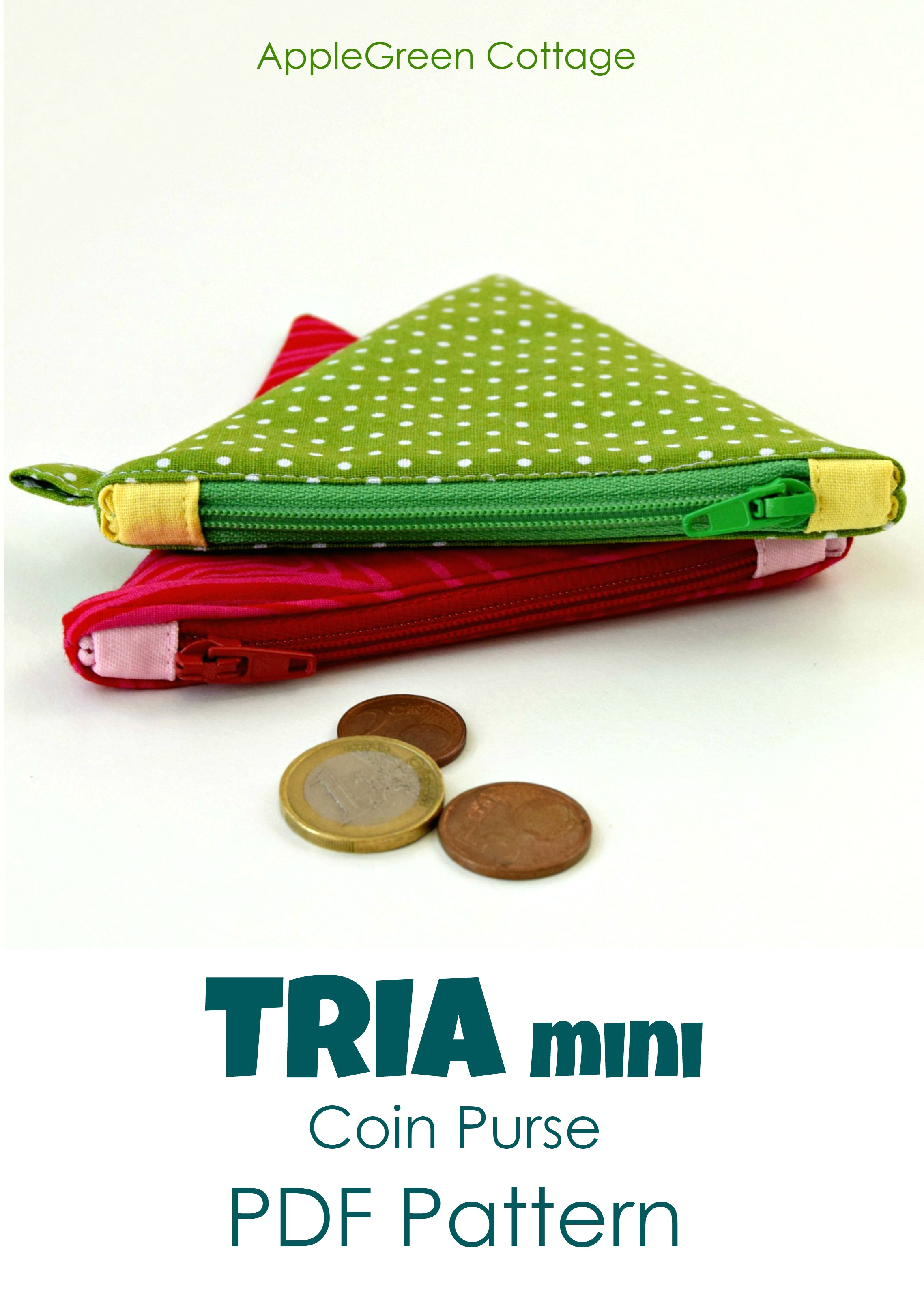 TRIA Mini Coin Purse - PDF Sewing Pattern and detailed instructions