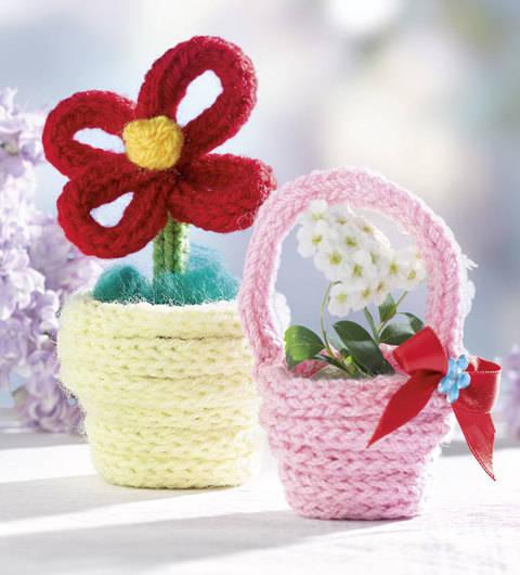 Blumentopf und Körbchen (Anleitung für Strickliesel) bei Makerist