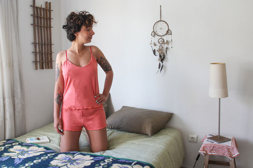 Pyjama Anna : 2 patrons shorty + débardeur (34 au 56) chez Makerist - Image 1