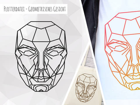 Plottervorlage Geometrisches Gesicht bei Makerist