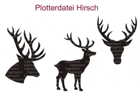 Plotterdatei Hirsche 3 teiliges Set
