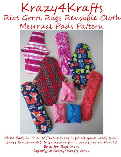Riot Grrrl Reusable Cloth Menstrual Pads PDF Sewing Pattern