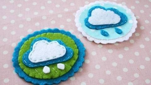 Nähanleitung Brosche Wolke aus Filz oder Baumwollstoff