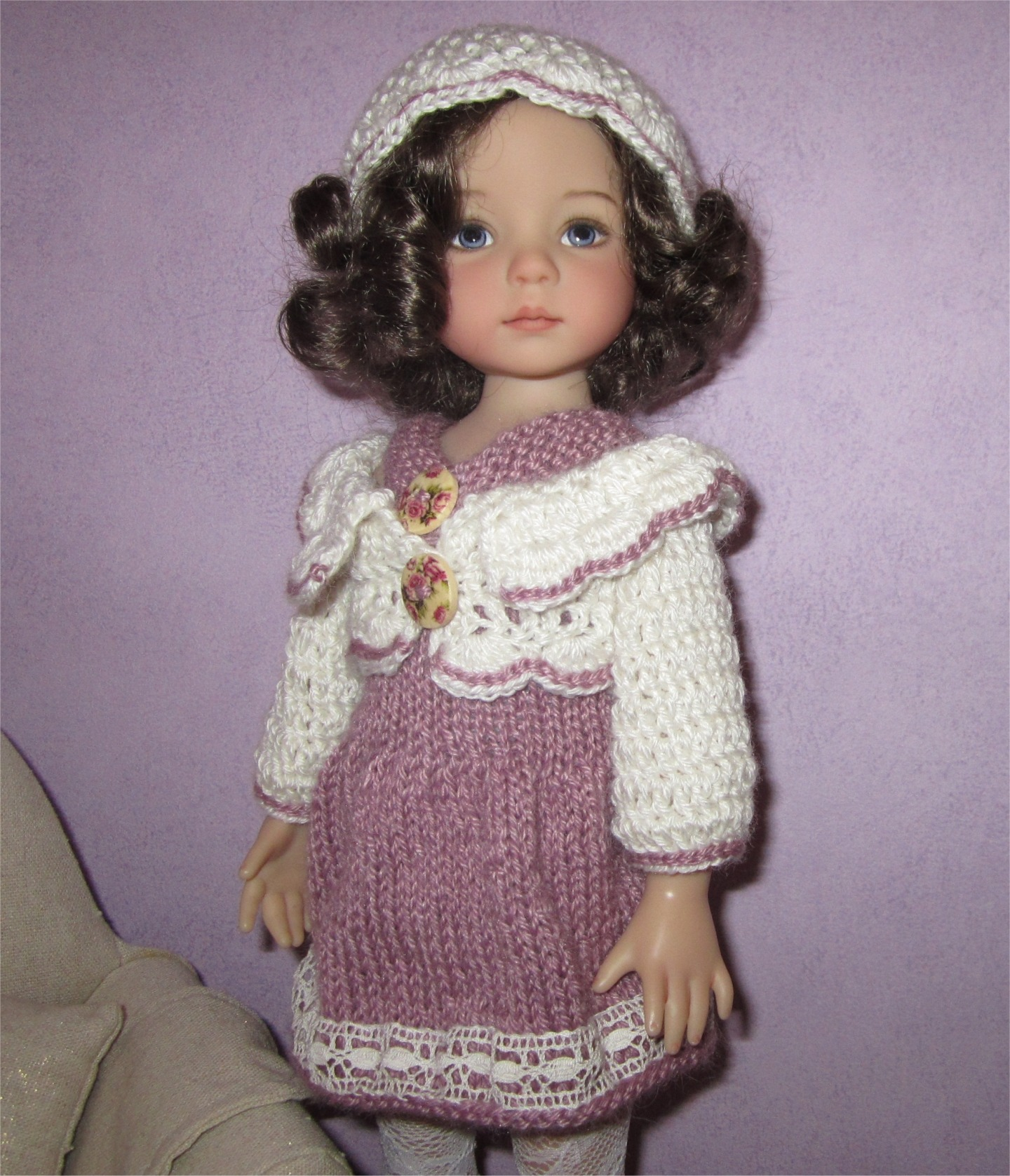 Violette: knit and crochet outfit for Little Darling