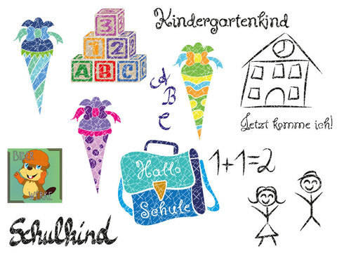 Kindergarten und Schulkind Set (Plotterdatei)