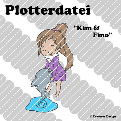 Plotterdatei Kim & Fino (Girl with dolphin)