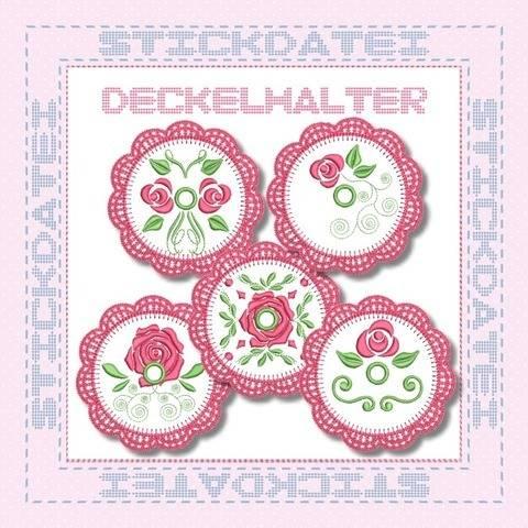 Crochet Roses Deckelhalter ITH 10x10 Stickdatei bei Makerist