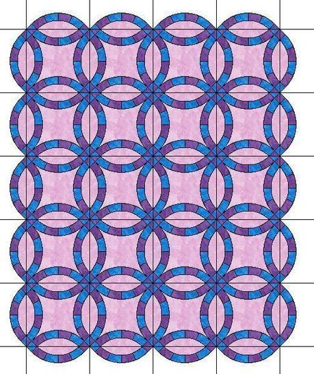 Wedding Ring Quilt Pattern.The Double Wedding Ring Quilt With Scalloped Edges Template Patterns For 6 Sizes