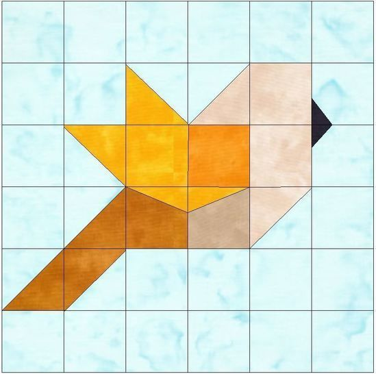 Bird Paper Piecing Foundation Quilting Block Pattern at Makerist - Image 1