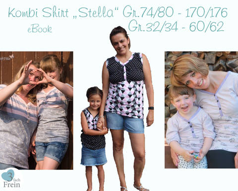 "Kombi eBook  Shirt ""Stella"" Gr.70/74-170/176 Gr.32/34-60/62"