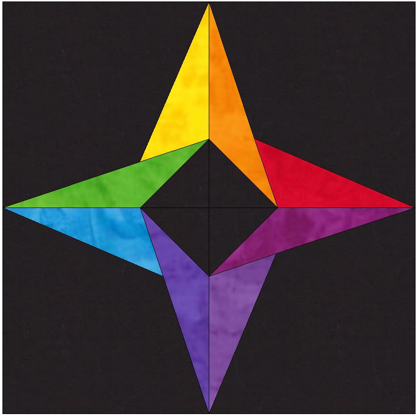 Incredible Rainbow Star 10 Inch Paper Piece Foundation Block Quilting Pattern