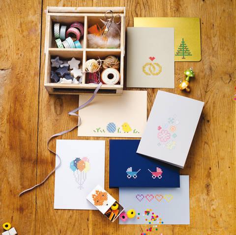 Grußkarten und Mini-Schachtel Stickanleitung bei Makerist
