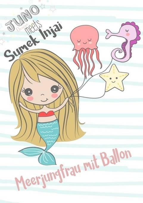 Plotterdatei Meerjungfrau m. Ballon und Meerestiere Gewerbelizenz  bei Makerist