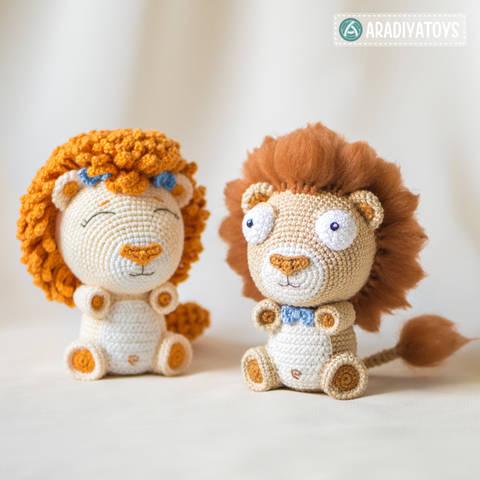 """Häkelanleitung für die Löwenbabys Bobby und Lily aus der """"AradiyaToys Design""""-Kollektion bei Makerist"""
