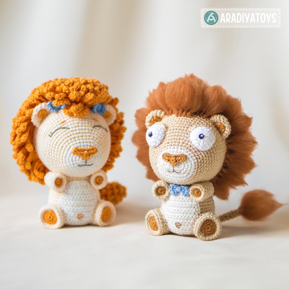 """Modèle au crochet des lionceaux Bobby et Lily de """"AradiyaToys Design"""""""