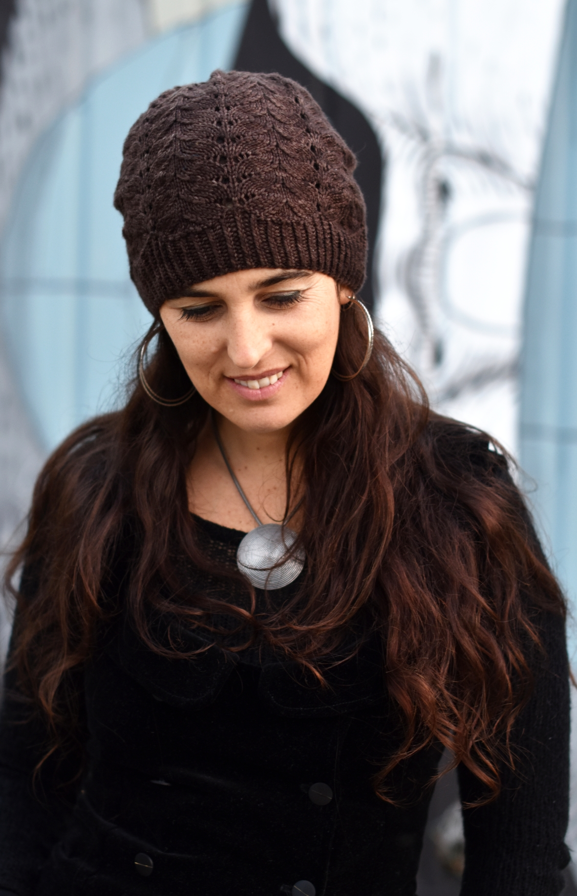 Adiantum lacey slouchy beanie - knitting pattern