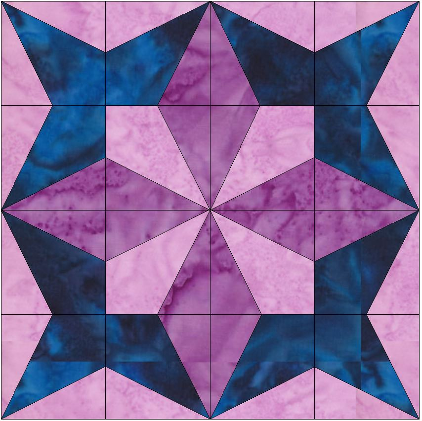 Petal Star 15 Inch Block Quilting Template Pattern