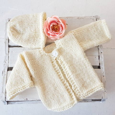 Easy Baby Ella Cardigan and Beanie