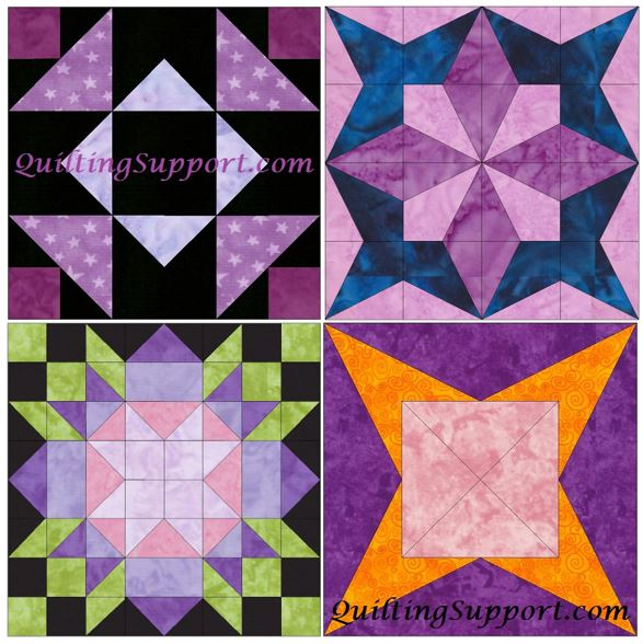 HC Star Set 1 of 15 Inch Block Quilting Template Patterns