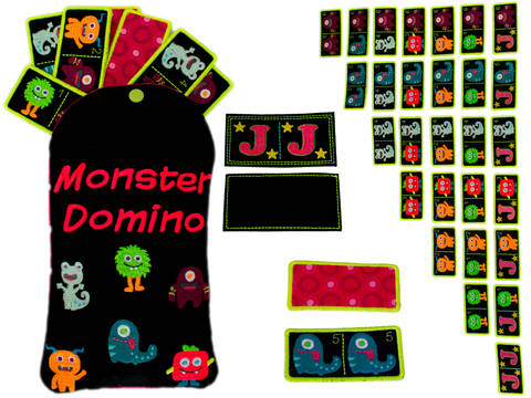 ITH Monster Domino Stickdatei 10x10 Megaset