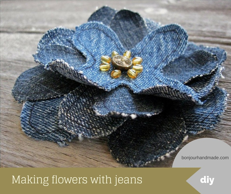 Making flowers with jeans – pattern and DIY tutorial PDF